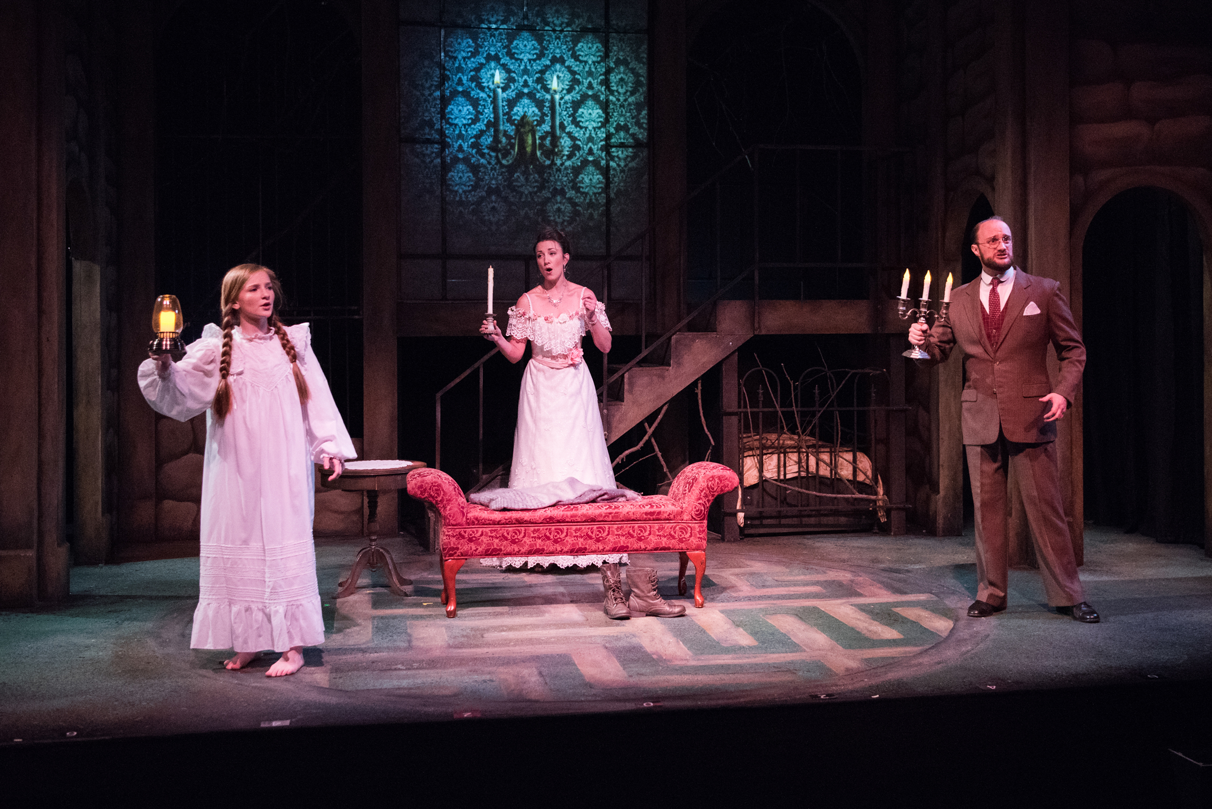 l to r katie maupin as mary lennox sharon rietkerk as lily and brian watson as archibald craven - The Secret Garden Musical